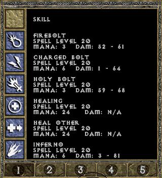Diablo 1 spellbook page 1