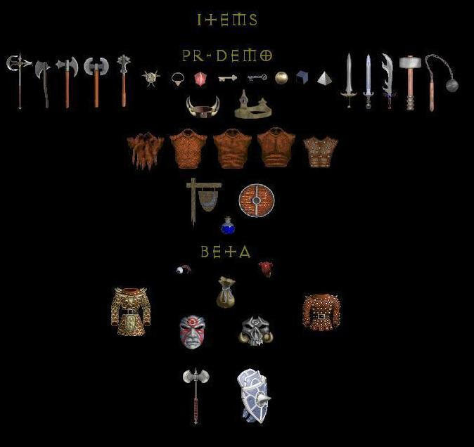 Diablo PR-Demo, Diablo Beta Items, Unused items
