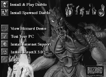 Menu instalacyjne Diablo 1